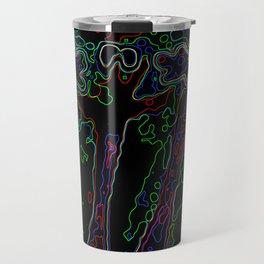 Neon Abstract Bougainvillea Travel Mug