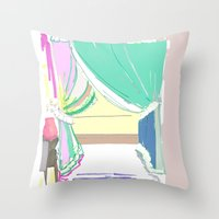 vermont Throw Pillows featuring Vermont Window by VirginiaEddie Designs
