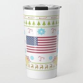 American Flag Christmas Ugly Shirt Sweater Ugly Design Travel Mug