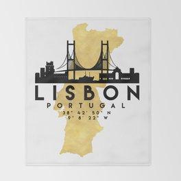 LISBON PORTUGAL SILHOUETTE SKYLINE MAP ART Throw Blanket