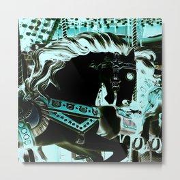 Carousel Horse Turquoise Aqua Metal Print