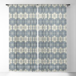 Blue Floral Japanese Pattern Sheer Curtain