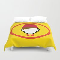 fez Duvet Covers featuring Man With Fez by Evan Ayres