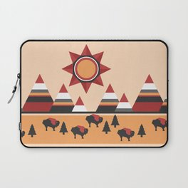 Sun, mountains and buffaloes - native Indian style landscape Laptop Sleeve