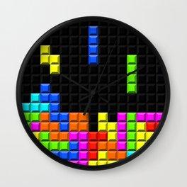 Retro Video Game Blocks Pattern Wall Clock