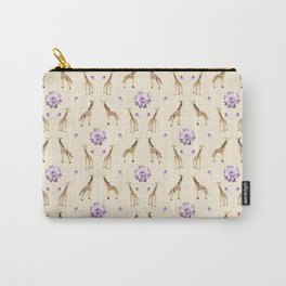 Giraffes And Flowers Carry-All Pouch