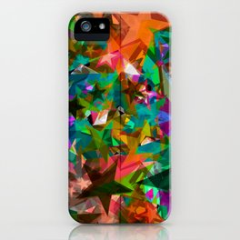 Bright green stars from foil on orange shards of glass. iPhone Case