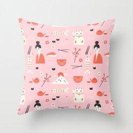 Dreaming of Japan Pattern Throw Pillow
