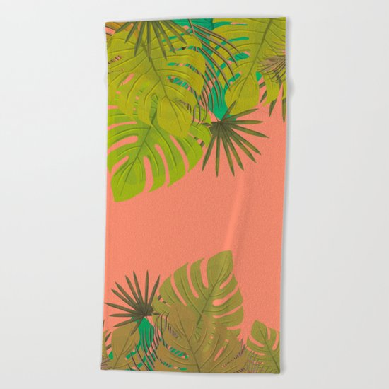 Tropical leaves 02 Beach Towel