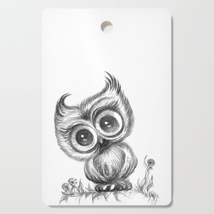 Baby Owl Wall Art Nursery Decor Bird Ilration Animals Cutting Board By Noramanapova