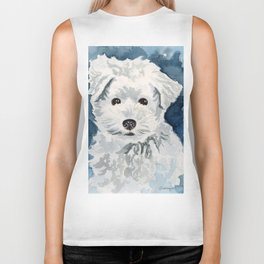 Bichon Frise Watercolor Biker Tank
