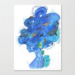 The Girl With The Shark Hair Canvas Print