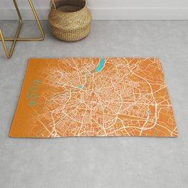 Dijon, France, Gold, Blue, City, Map Rug