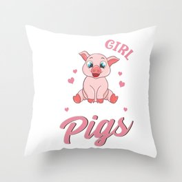 Adorable Just a Girl Who Loves Pigs Women Throw Pillow