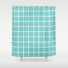 Aqua Grid Pattern 2 Shower Curtain
