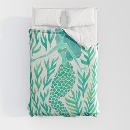 Kelp Forest Mermaid – Mint Palette Duvet Cover