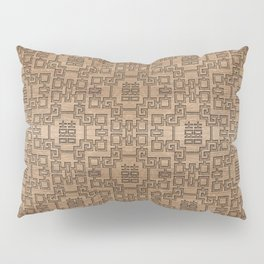 Chinese Pattern Double Happiness Symbol on Wood Pillow Sham