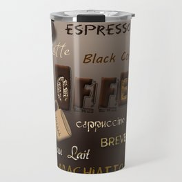 Ombre Coffee Beans and Brews Word Art Travel Mug