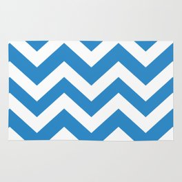 Green-blue (Crayola) - blue color - Zigzag Chevron Pattern Rug
