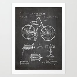 Bicycle Patent - Cyclling Art - Black Chalkboard Art Print