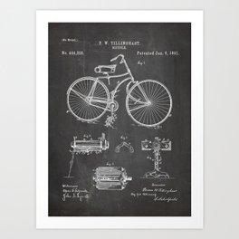 Bicycle Patent - Cyclling Art - Black Chalkboard Art Print