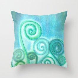 Pastel Blue Curls  Throw Pillow