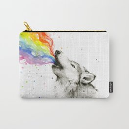Wolf Howling Rainbow Watercolor Carry-All Pouch