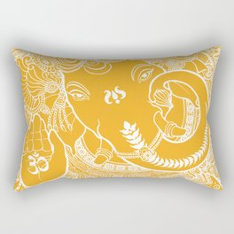 Ganesha Lineart Yellow White Rectangular Pillow