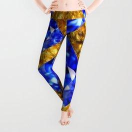 ASYMMETRIC ROYAL BLUE SAPPHIRE GEMSTONES ART ON GOLD Leggings
