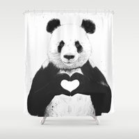 5 seconds of summer Shower Curtains featuring All you need is love by Balazs Solti