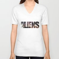 aliens V-neck T-shirts featuring Aliens by Jehzbell Black