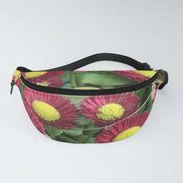 Pixie Red & Pink Flowers Nestled In Lush Leaves Fanny Pack