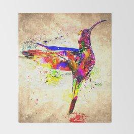Hummingbird Grunge Throw Blanket