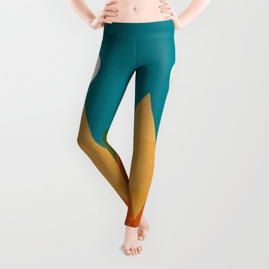 Full moon over Sahara desert Leggings