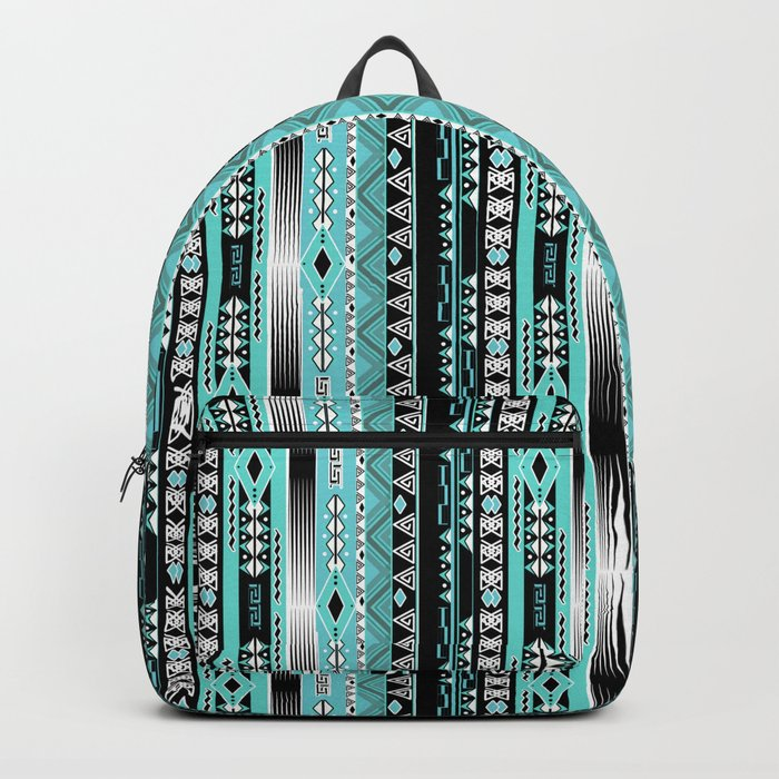 Abstract ethnic pattern in turquoise , black and white . Backpack