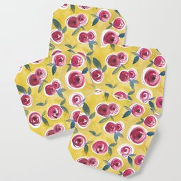 Florals on Lime Coaster