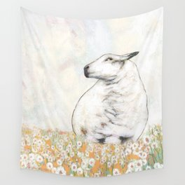 White Sheep in yellow Wildflowers  Wall Tapestry