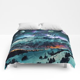 Time in Planet Kepler - Fantasy Mountains and Kepler Planets Painted Effect Comforters
