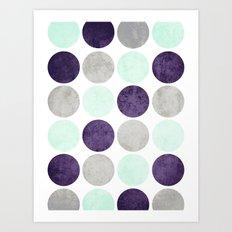 Circles (Mint, Purple, Gray) Art Print