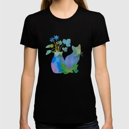 Cat And Flowers T-shirt