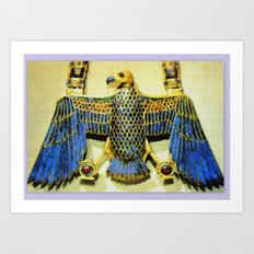 Gold Necklace with Vulture Pendant Art Print