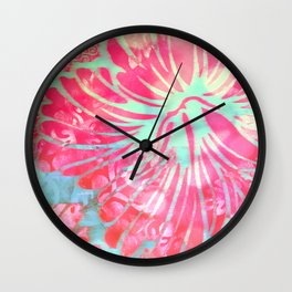 Blue Water Hibiscus Snowfall Wall Clock