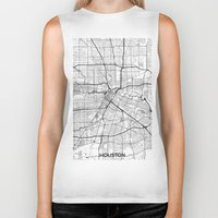 houston Biker Tanks featuring Houston Map Gray by City Art Posters