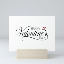 Elegant and Lovely Happy Valentine's Day Calligraphy Greeting Mini Art Print