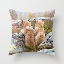Lynx kittens - sister love Throw Pillow