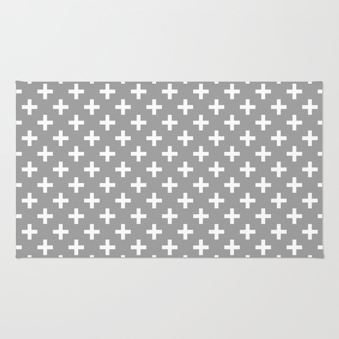 Criss Cross | Plus Sign | Grey and White Rug