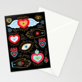 Milagro Love Hearts - Black Stationery Cards