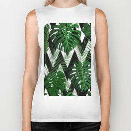 Geometrical green black white tropical monster leaves Biker Tank