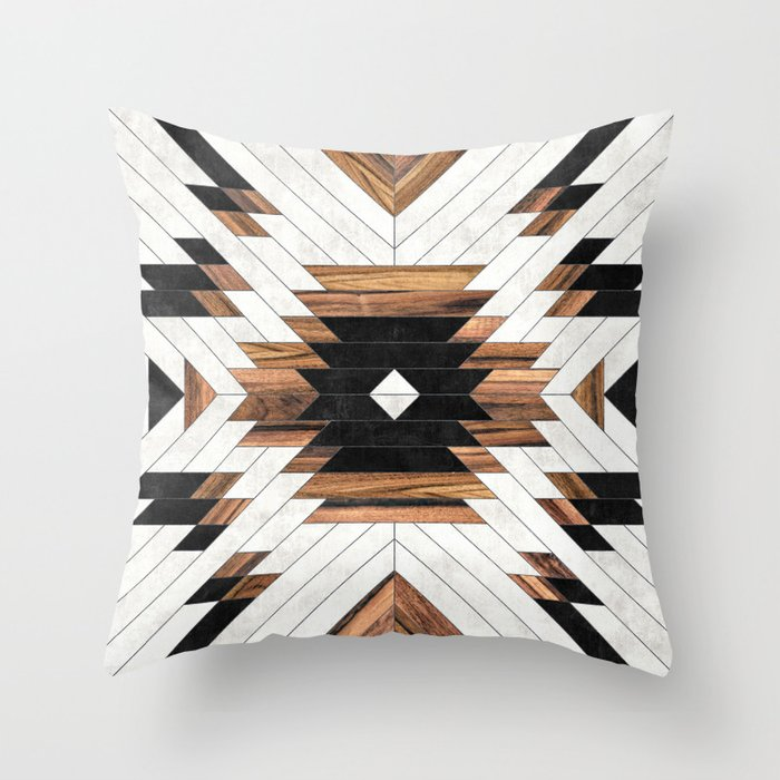 Urban Tribal Pattern No.5 - Aztec - Concrete and Wood Deko-Kissen