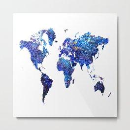 World Map blue purple Metal Print